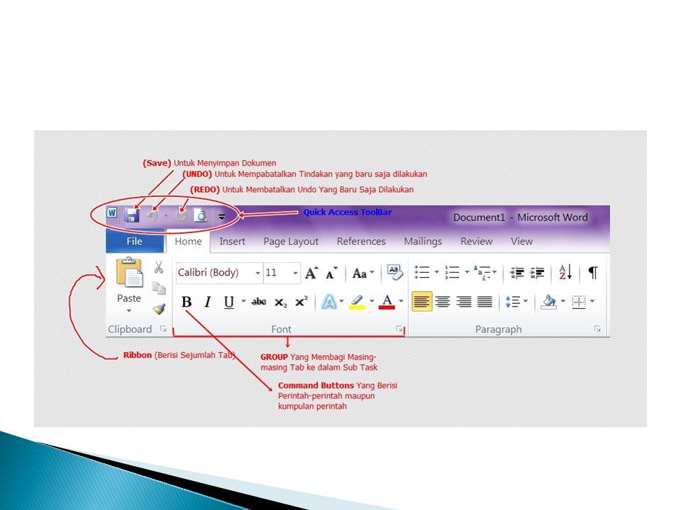 Membuka, Menutup, Membuat dan Menyimpan Dokumen Membuka dokumen : Ctrl + O atau klik Tab File  klik Open  pada Look In : cari lokasi penyimpanan dokumen dan nama file nya  klik tombol Open Menutup dokumen : Ctrl + W atau Klik Tab File  klik Exit atau klik tombol Exit pada kanan atas jendela office Word