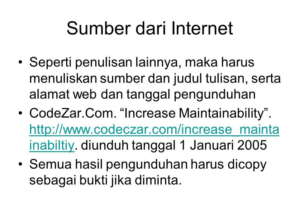 Sumber dari Internet Seperti penulisan lainnya, maka harus menuliskan sumber dan judul tulisan, serta alamat web dan tanggal pengunduhan CodeZar.Com.