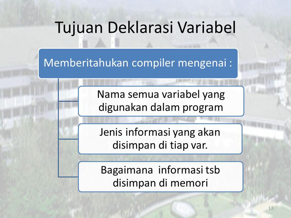 Tujuan Deklarasi Variabel Memberitahukan compiler mengenai : Nama semua variabel yang digunakan dalam program Jenis informasi yang akan disimpan di ti