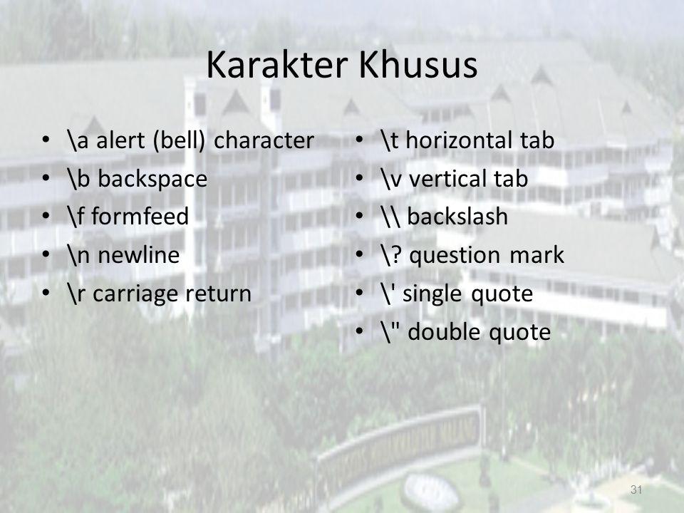 Karakter Khusus \a alert (bell) character \b backspace \f formfeed \n newline \r carriage return \t horizontal tab \v vertical tab \\ backslash \? que