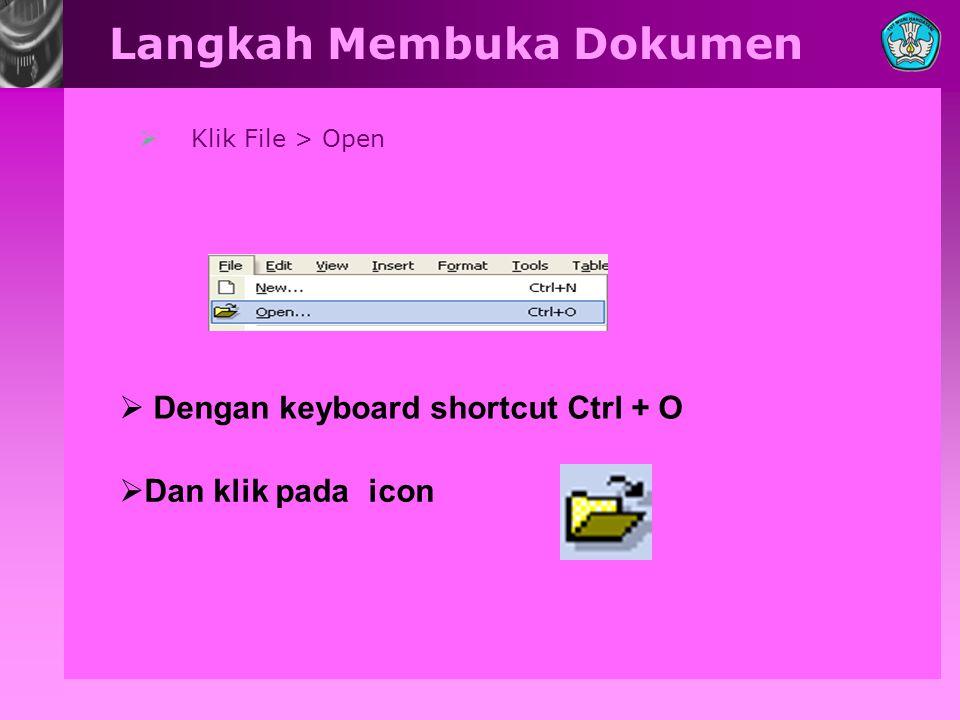  Klik File > Open Langkah Membuka Dokumen  Dengan keyboard shortcut Ctrl + O  Dan klik pada icon