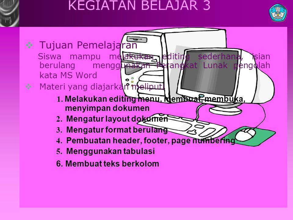 KEGIATAN BELAJAR 3  Tujuan Pemelajaran Siswa mampu melakukan editing sederhana, isian berulang menggunakan Perangkat Lunak pengolah kata MS Word  Ma