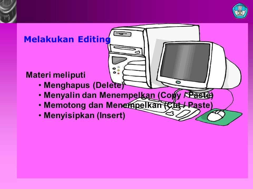 Melakukan Editing Materi meliputi Menghapus (Delete) Menyalin dan Menempelkan (Copy / Paste) Memotong dan Menempelkan (Cut / Paste) Menyisipkan (Inser