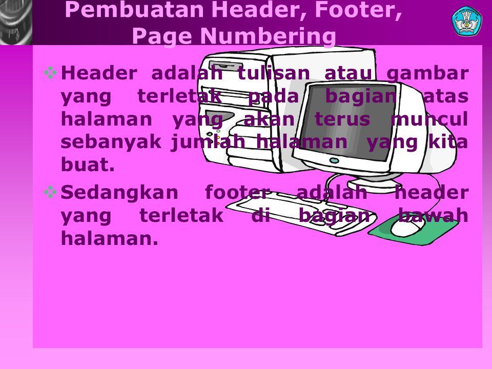 Pembuatan Header, Footer, Page Numbering HHeader adalah tulisan atau gambar yang terletak pada bagian atas halaman yang akan terus muncul sebanyak j