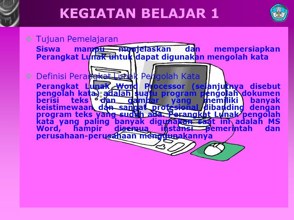 KEGIATAN BELAJAR 1  Tujuan Pemelajaran Siswa mampu menjelaskan dan mempersiapkan Perangkat Lunak untuk dapat digunakan mengolah kata  Definisi Peran