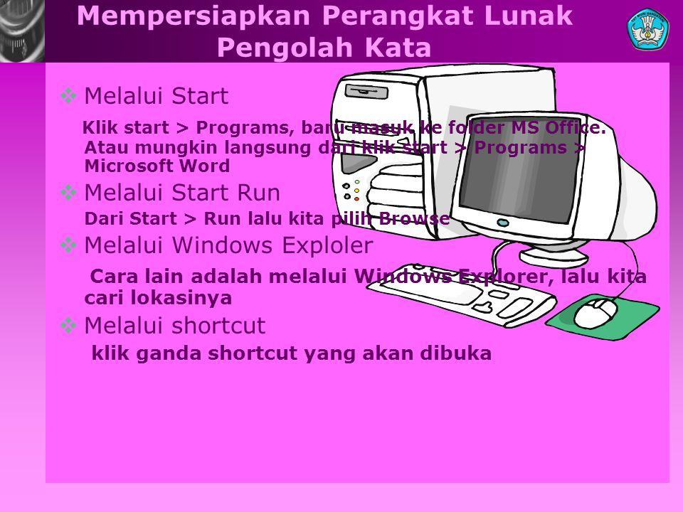 Mempersiapkan Perangkat Lunak Pengolah Kata  Melalui Start Klik start > Programs, baru masuk ke folder MS Office. Atau mungkin langsung dari klik sta