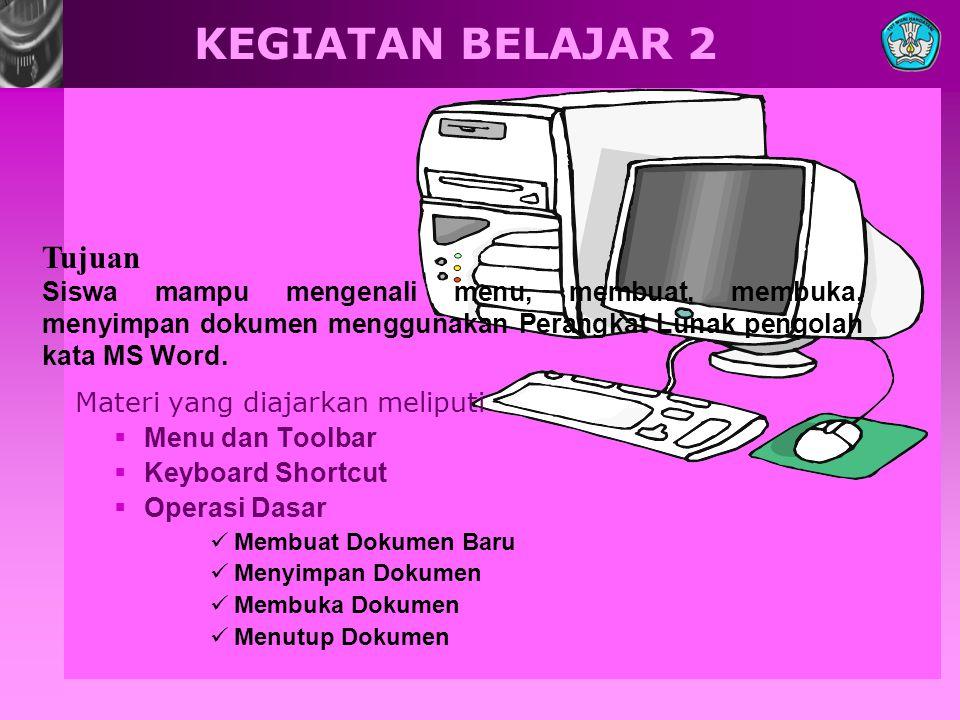 KEGIATAN BELAJAR 2 Materi yang diajarkan meliputi  Menu dan Toolbar  Keyboard Shortcut  Operasi Dasar Membuat Dokumen Baru Menyimpan Dokumen Membuk