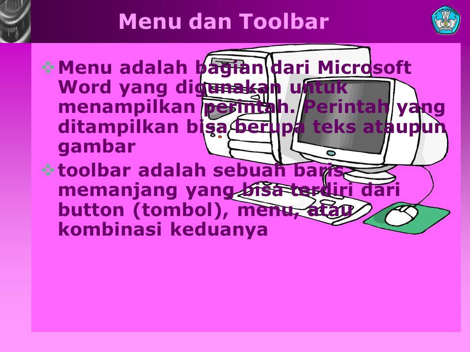 Menu dan Toolbar MMenu adalah bagian dari Microsoft Word yang digunakan untuk menampilkan perintah. Perintah yang ditampilkan bisa berupa teks ataup