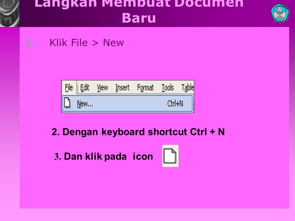 Langkah Membuat Documen Baru 1. Klik File > New 2. Dengan keyboard shortcut Ctrl + N 3. Dan klik pada icon