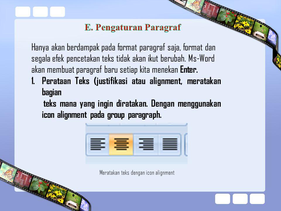 Hanya akan berdampak pada format paragraf saja, format dan segala efek pencetakan teks tidak akan ikut berubah. Ms-Word akan membuat paragraf baru set