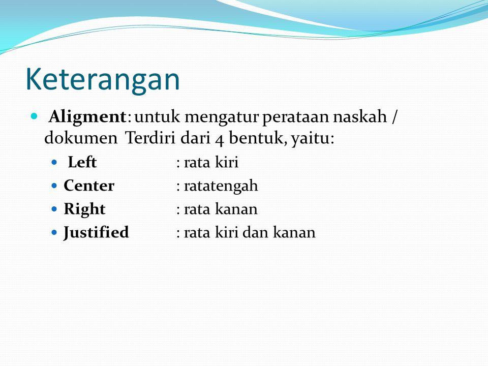 Keterangan Aligment: untuk mengatur perataan naskah / dokumen Terdiri dari 4 bentuk, yaitu: Left: rata kiri Center: ratatengah Right: rata kanan Justi