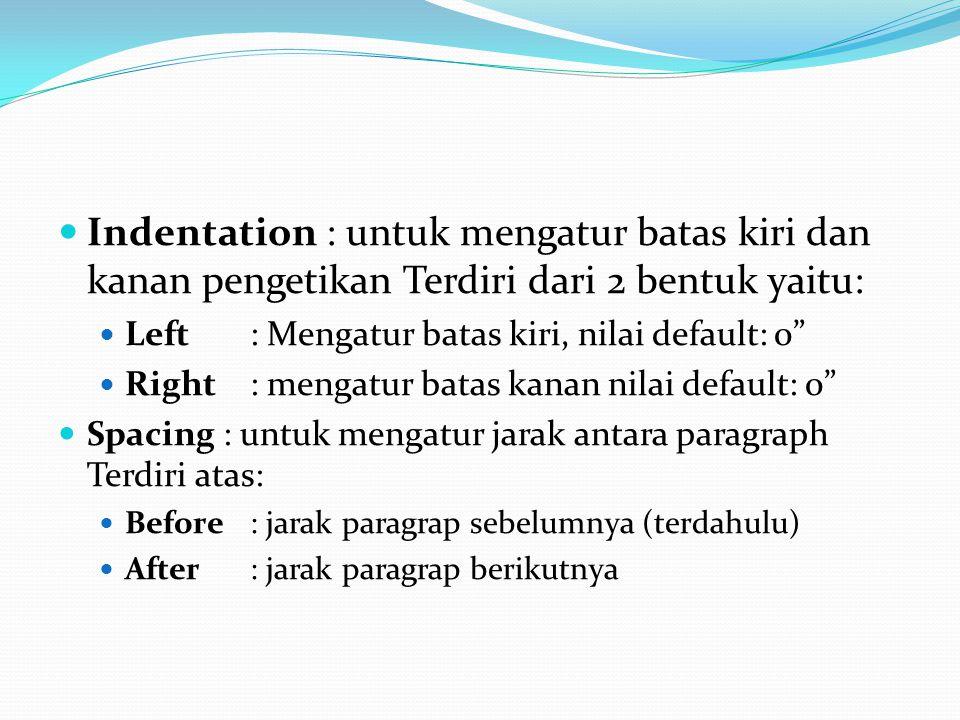 Indentation : untuk mengatur batas kiri dan kanan pengetikan Terdiri dari 2 bentuk yaitu: Left: Mengatur batas kiri, nilai default: 0 Right: mengatur batas kanan nilai default: 0 Spacing : untuk mengatur jarak antara paragraph Terdiri atas: Before: jarak paragrap sebelumnya (terdahulu) After: jarak paragrap berikutnya
