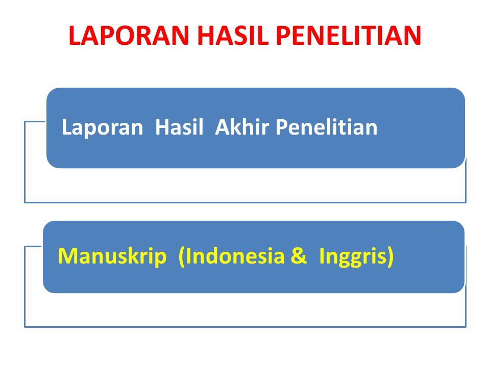 LAPORAN HASIL PENELITIAN Laporan Hasil Akhir Penelitian Manuskrip (Indonesia & Inggris)