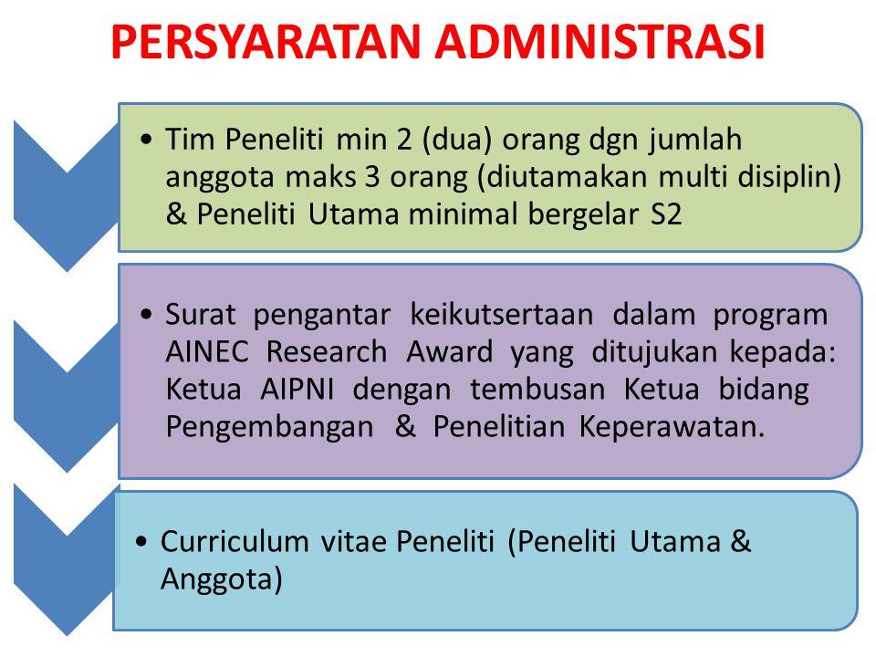PERSYARATAN ADMINISTRASI Tim Peneliti min 2 (dua) orang dgn jumlah anggota maks 3 orang (diutamakan multi disiplin) & Peneliti Utama minimal bergelar