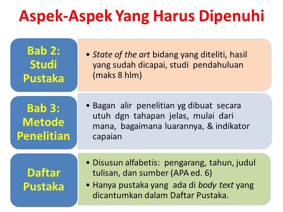 State of the art bidang yang diteliti, hasil yang sudah dicapai, studi pendahuluan (maks 8 hlm) Bab 2: Studi Pustaka Bagan alir penelitian yg dibuat s
