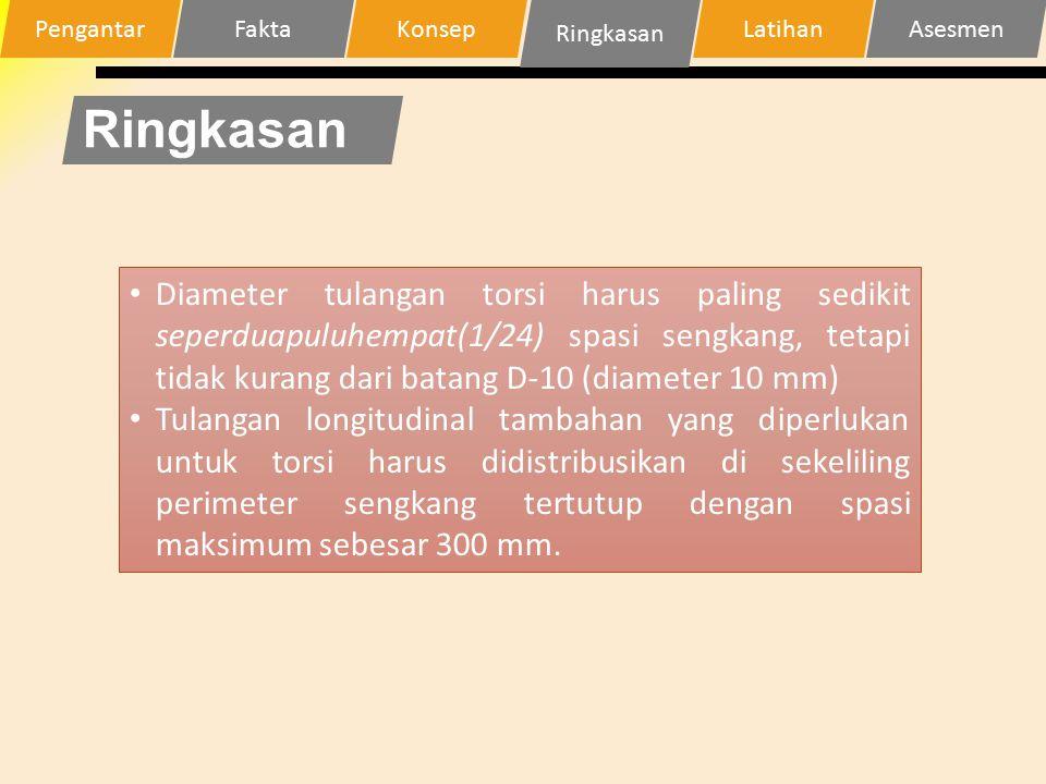 Ringkasan Diameter tulangan torsi harus paling sedikit seperduapuluhempat(1/24) spasi sengkang, tetapi tidak kurang dari batang D-10 (diameter 10 mm)