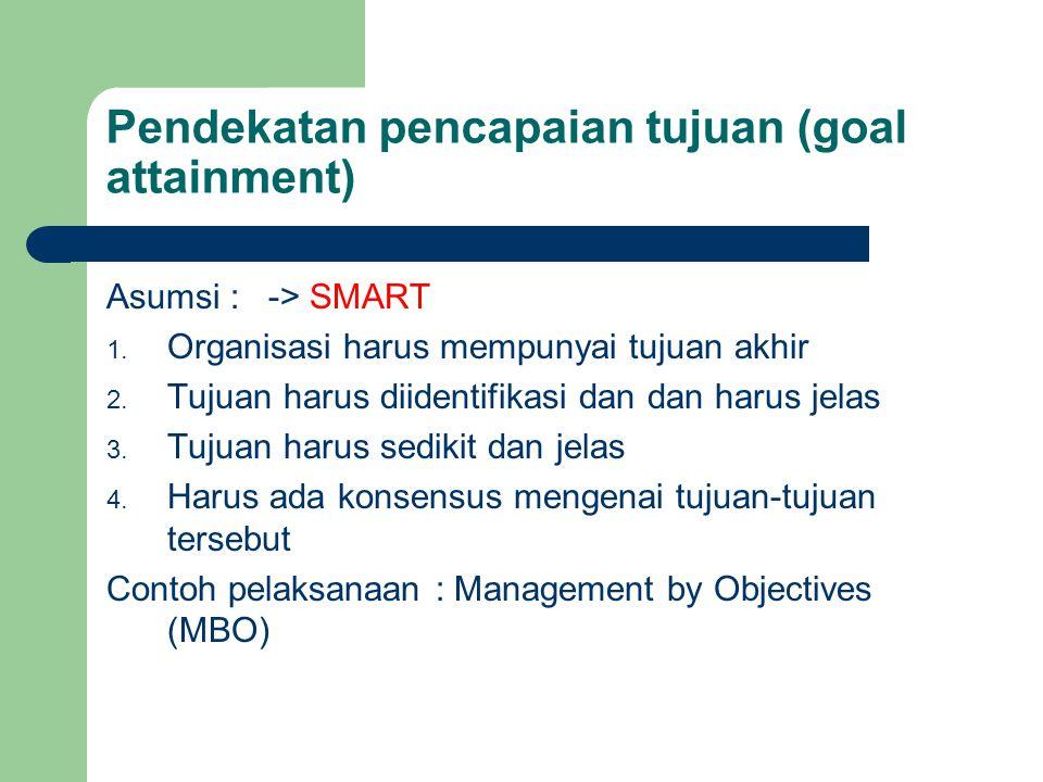 Pendekatan pencapaian tujuan (goal attainment) Asumsi : -> SMART 1. Organisasi harus mempunyai tujuan akhir 2. Tujuan harus diidentifikasi dan dan har