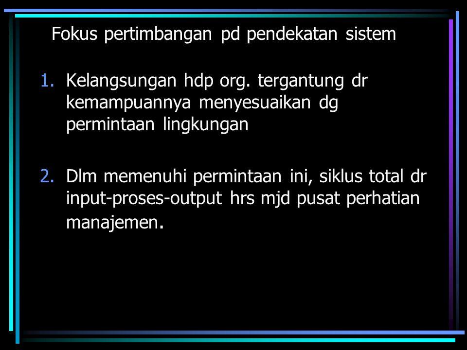 Fokus pertimbangan pd pendekatan sistem 1.Kelangsungan hdp org. tergantung dr kemampuannya menyesuaikan dg permintaan lingkungan 2.Dlm memenuhi permin