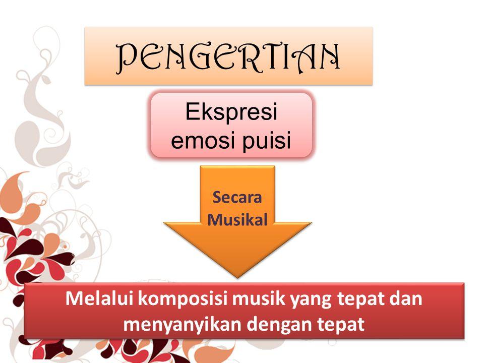 PENGERTIAN Melalui komposisi musik yang tepat dan menyanyikan dengan tepat Ekspresi emosi puisi Secara Musikal