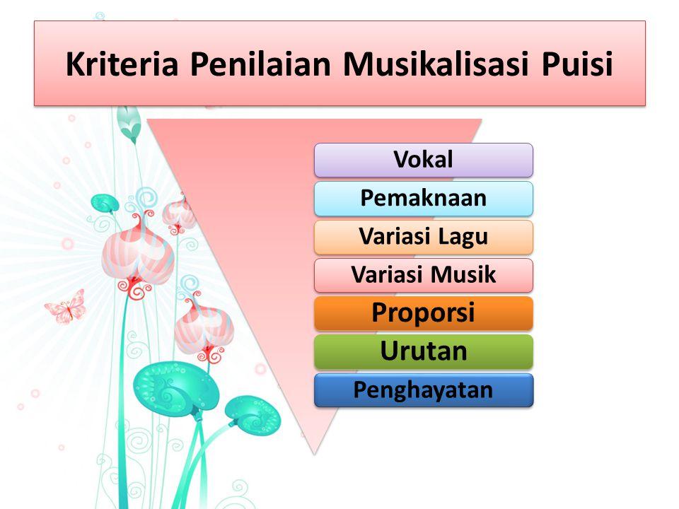 Kriteria Penilaian Musikalisasi Puisi VokalPemaknaanVariasi LaguVariasi Musik ProporsiUrutan Penghayatan