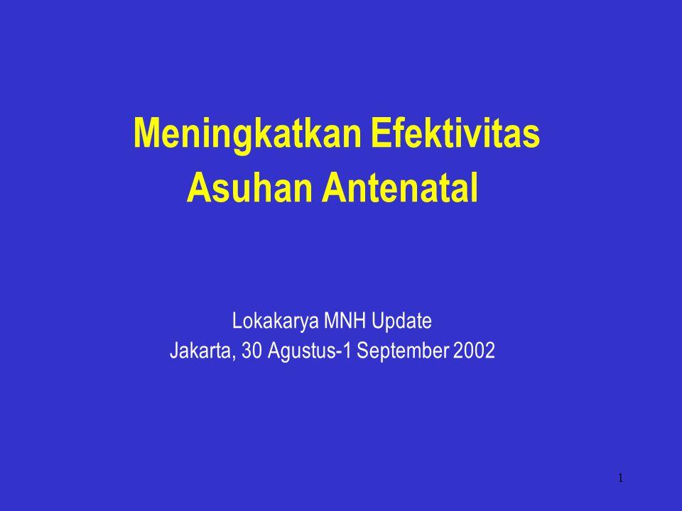 1 Meningkatkan Efektivitas Asuhan Antenatal Lokakarya MNH Update Jakarta, 30 Agustus-1 September 2002