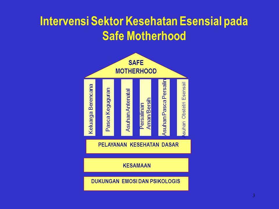 3 Intervensi Sektor Kesehatan Esensial pada Safe Motherhood Pasca Keguguran Asuhan Pasca Persalinan Keluarga Berencana Asuhan Antenatal Persalinan Aman/Bersih Asuhan Obstetri Esensail PELAYANAN KESEHATAN DASAR DUKUNGAN EMOSI DAN PSIKOLOGIS KESAMAAN SAFE MOTHERHOOD