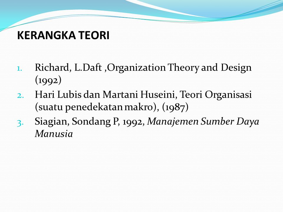 1.Richard, L.Daft,Organization Theory and Design (1992) 2.