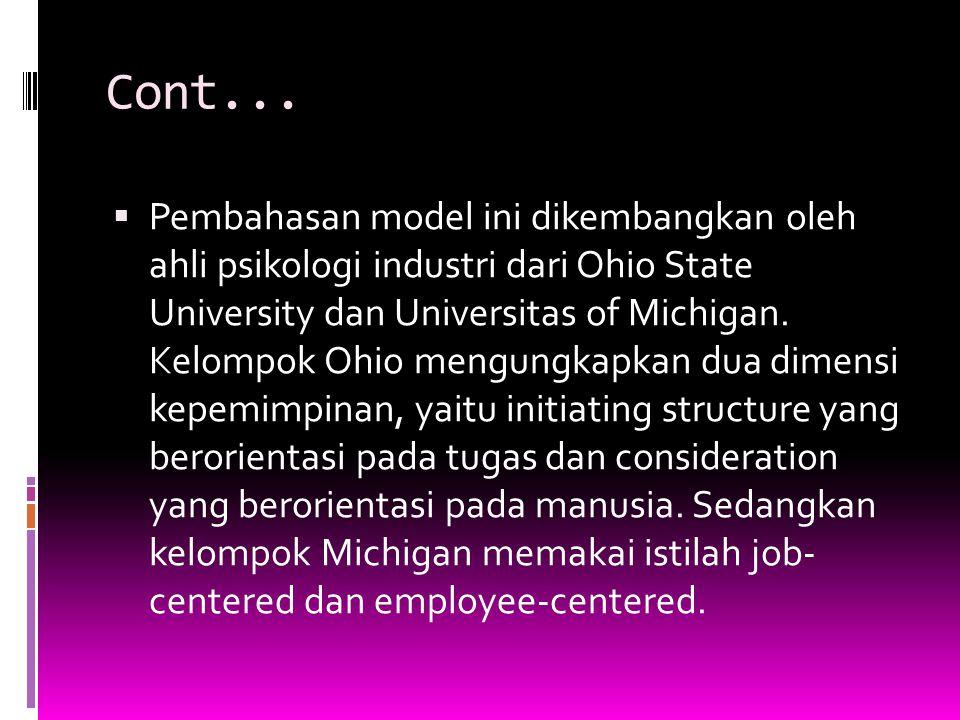 Cont...  Pembahasan model ini dikembangkan oleh ahli psikologi industri dari Ohio State University dan Universitas of Michigan. Kelompok Ohio mengung