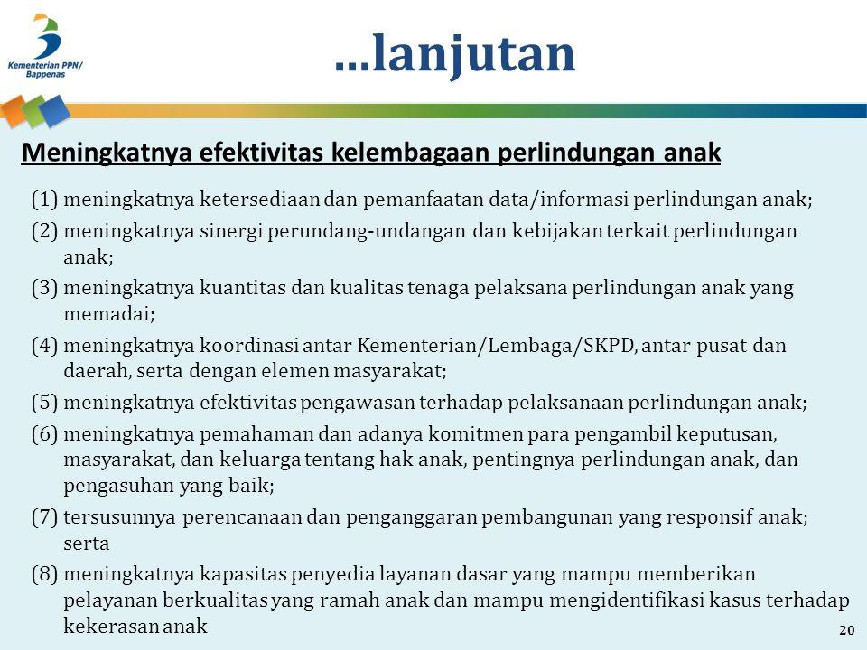 ...lanjutan (1)meningkatnya ketersediaan dan pemanfaatan data/informasi perlindungan anak; (2)meningkatnya sinergi perundang-undangan dan kebijakan te