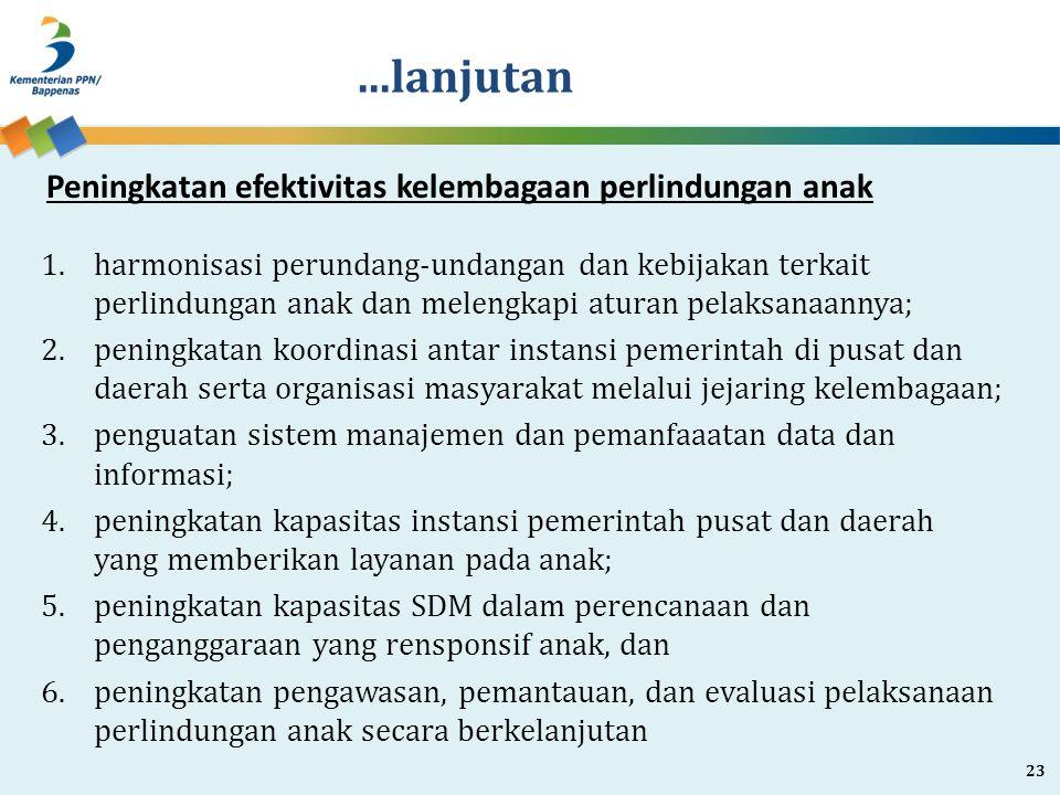 ...lanjutan 1.harmonisasi perundang-undangan dan kebijakan terkait perlindungan anak dan melengkapi aturan pelaksanaannya; 2.peningkatan koordinasi an