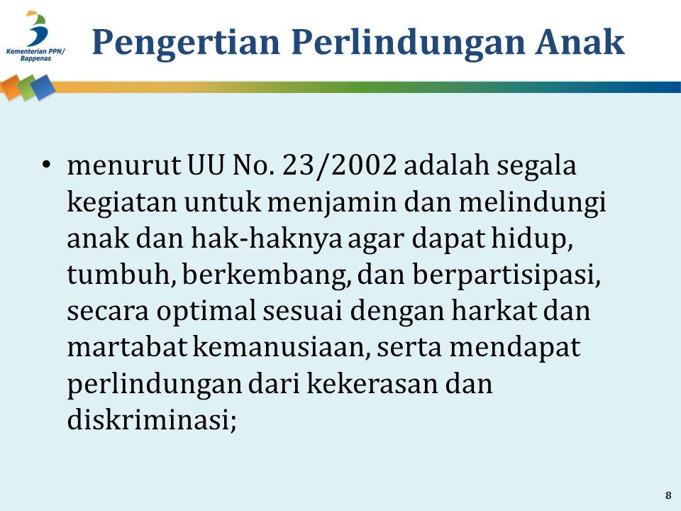 Pengertian Perlindungan Anak menurut UU No. 23/2002 adalah segala kegiatan untuk menjamin dan melindungi anak dan hak-haknya agar dapat hidup, tumbuh,
