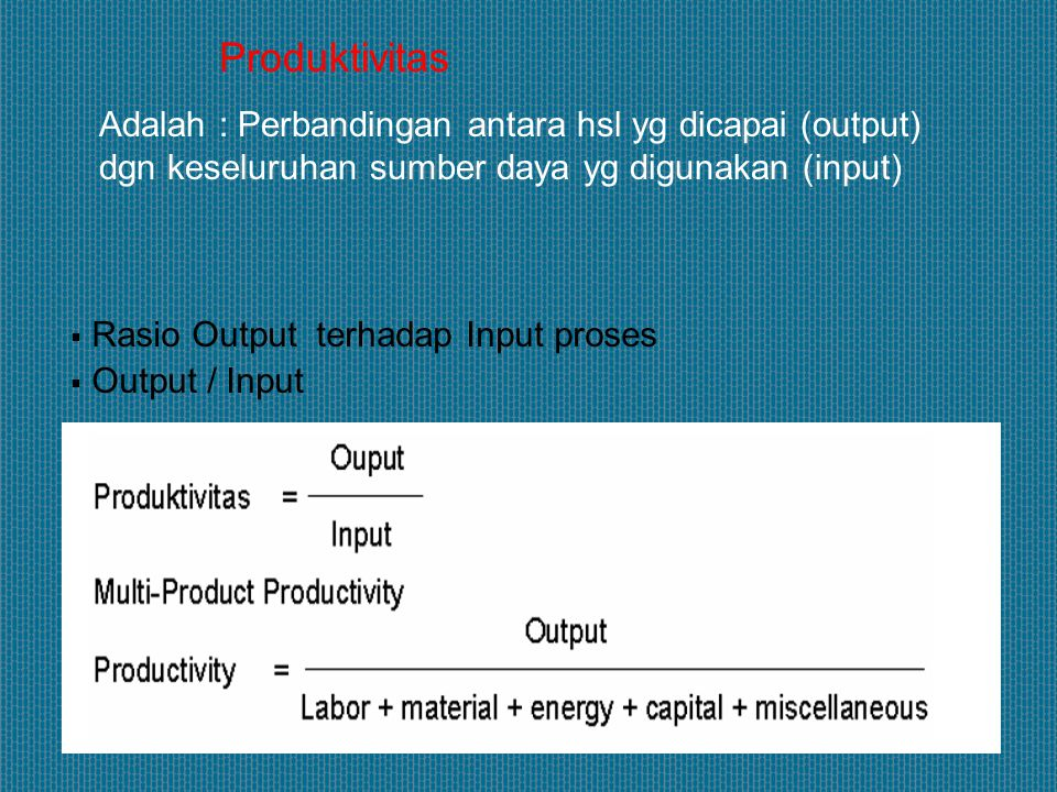  Rasio Input terhadap Output  Input / Output (= 1/Produktivitas) Bertujuan untuk menilai kinerja proses produksi dilihat dari sisi Input proses, yaitu berapa unit Input yang dipergunakan untuk menghasilkan satu unit Ouput Efisiensi
