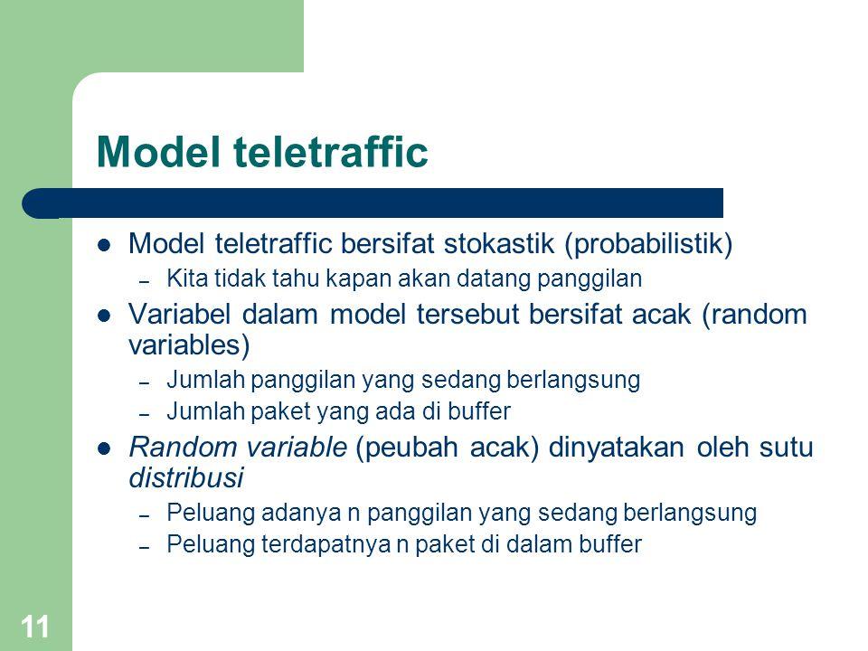 11 Model teletraffic Model teletraffic bersifat stokastik (probabilistik) – Kita tidak tahu kapan akan datang panggilan Variabel dalam model tersebut bersifat acak (random variables) – Jumlah panggilan yang sedang berlangsung – Jumlah paket yang ada di buffer Random variable (peubah acak) dinyatakan oleh sutu distribusi – Peluang adanya n panggilan yang sedang berlangsung – Peluang terdapatnya n paket di dalam buffer