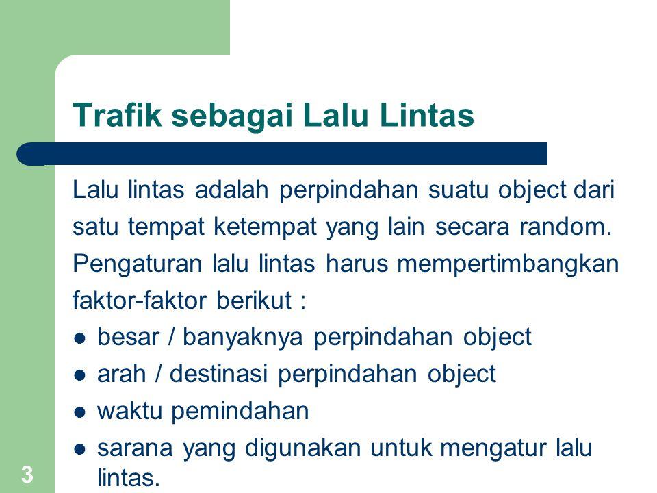 Trafik sebagai Lalu Lintas Lalu lintas adalah perpindahan suatu object dari satu tempat ketempat yang lain secara random.