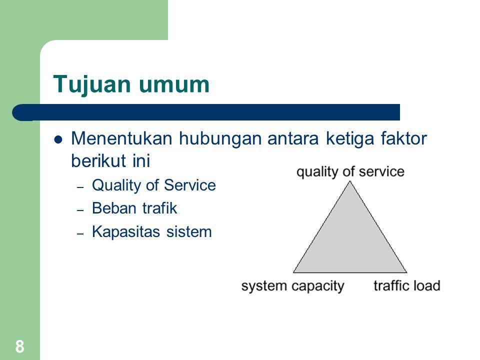 8 Tujuan umum Menentukan hubungan antara ketiga faktor berikut ini – Quality of Service – Beban trafik – Kapasitas sistem