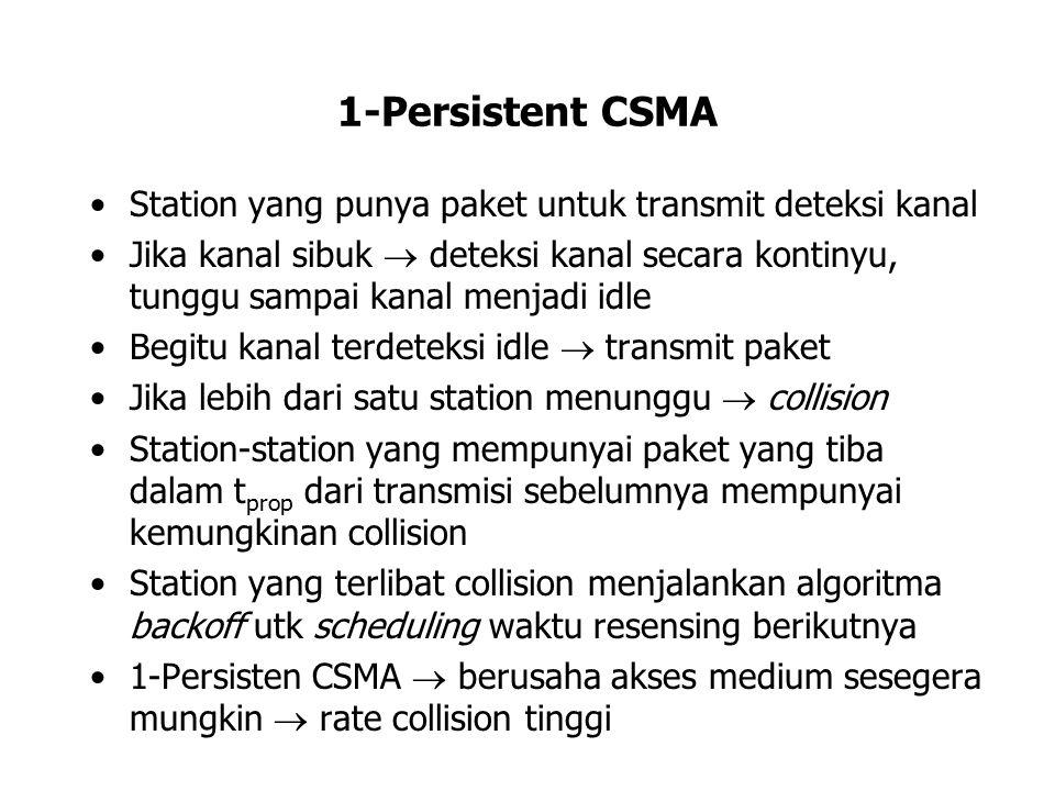 1-Persistent CSMA Station yang punya paket untuk transmit deteksi kanal Jika kanal sibuk  deteksi kanal secara kontinyu, tunggu sampai kanal menjadi
