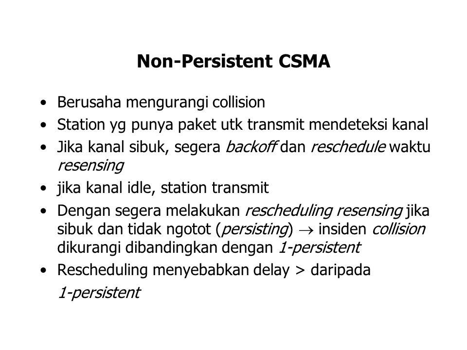 Non-Persistent CSMA Berusaha mengurangi collision Station yg punya paket utk transmit mendeteksi kanal Jika kanal sibuk, segera backoff dan reschedule