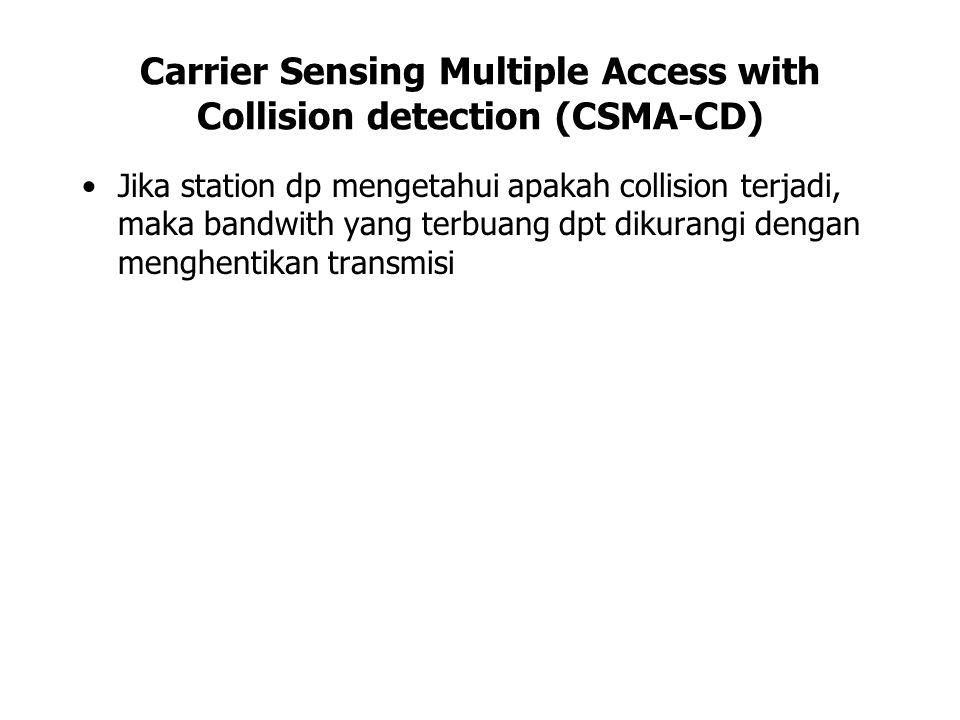 Carrier Sensing Multiple Access with Collision detection (CSMA-CD) Jika station dp mengetahui apakah collision terjadi, maka bandwith yang terbuang dp