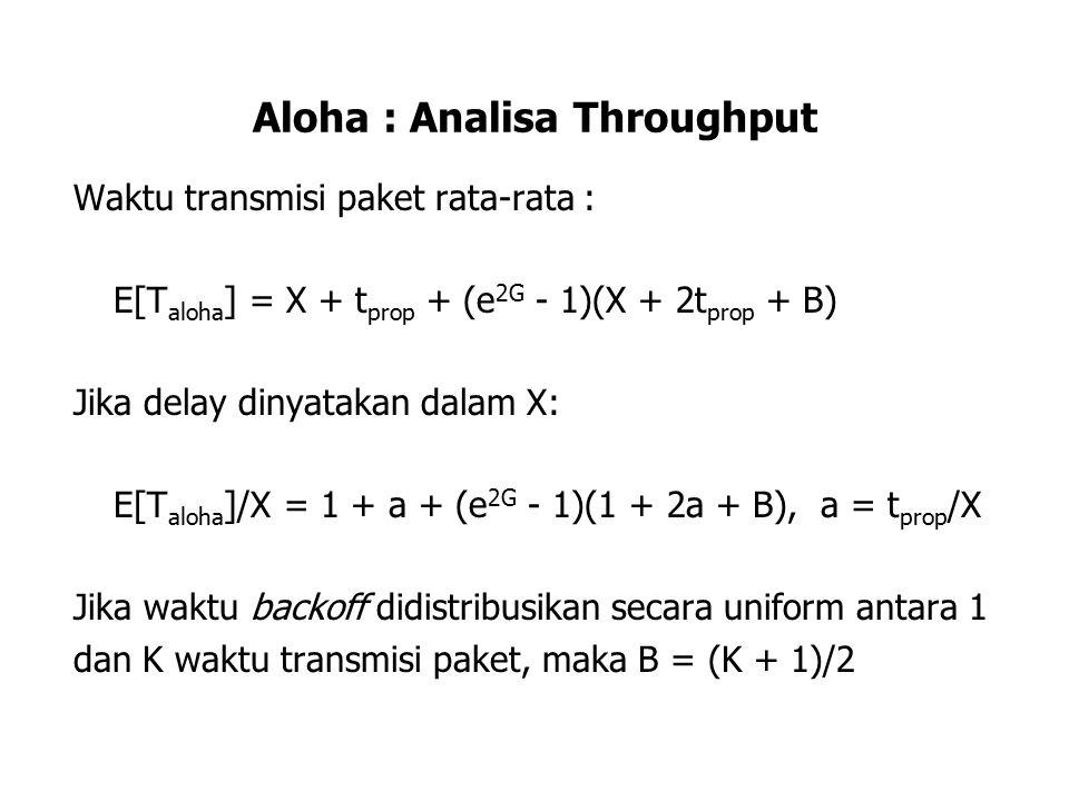 Aloha : Analisa Throughput Waktu transmisi paket rata-rata : E[T aloha ] = X + t prop + (e 2G - 1)(X + 2t prop + B) Jika delay dinyatakan dalam X: E[T