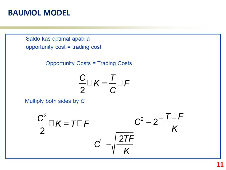 11 BAUMOL MODEL Opportunity Costs = Trading Costs Saldo kas optimal apabila opportunity cost = trading cost Multiply both sides by C F C T K C  2 F
