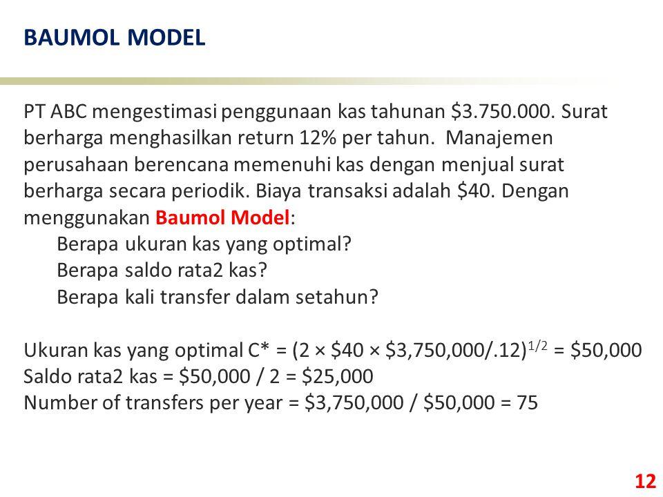12 BAUMOL MODEL PT ABC mengestimasi penggunaan kas tahunan $3.750.000. Surat berharga menghasilkan return 12% per tahun. Manajemen perusahaan berencan