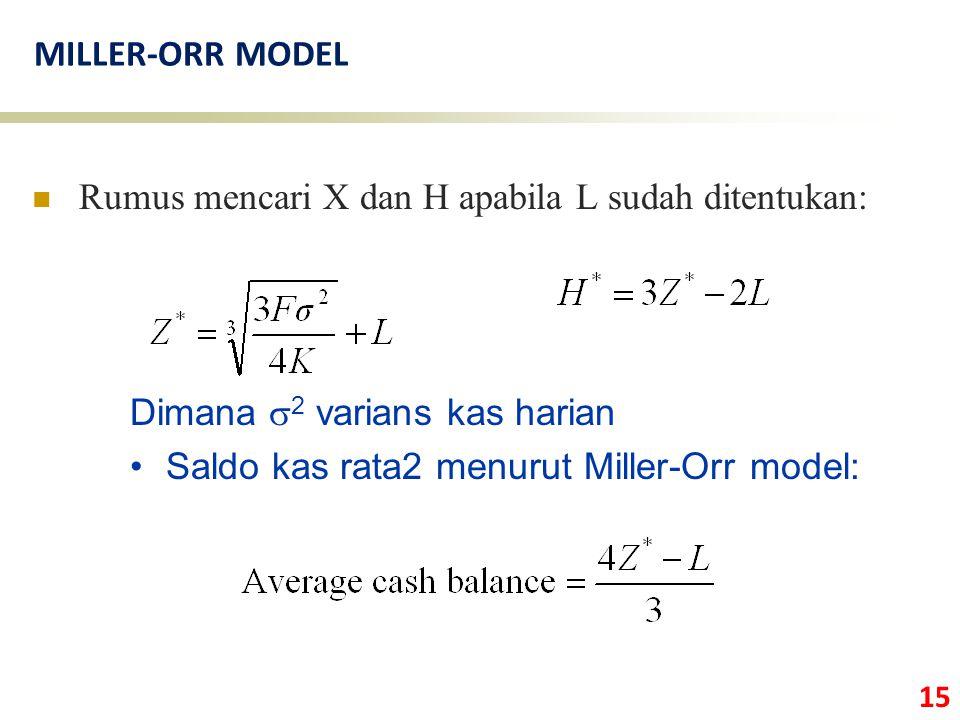 15 MILLER-ORR MODEL Rumus mencari X dan H apabila L sudah ditentukan: Dimana  2 varians kas harian Saldo kas rata2 menurut Miller-Orr model: