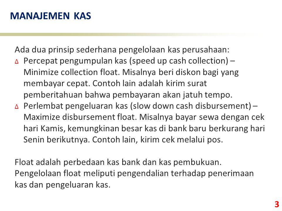 3 MANAJEMEN KAS Ada dua prinsip sederhana pengelolaan kas perusahaan: ∆ Percepat pengumpulan kas (speed up cash collection) – Minimize collection floa