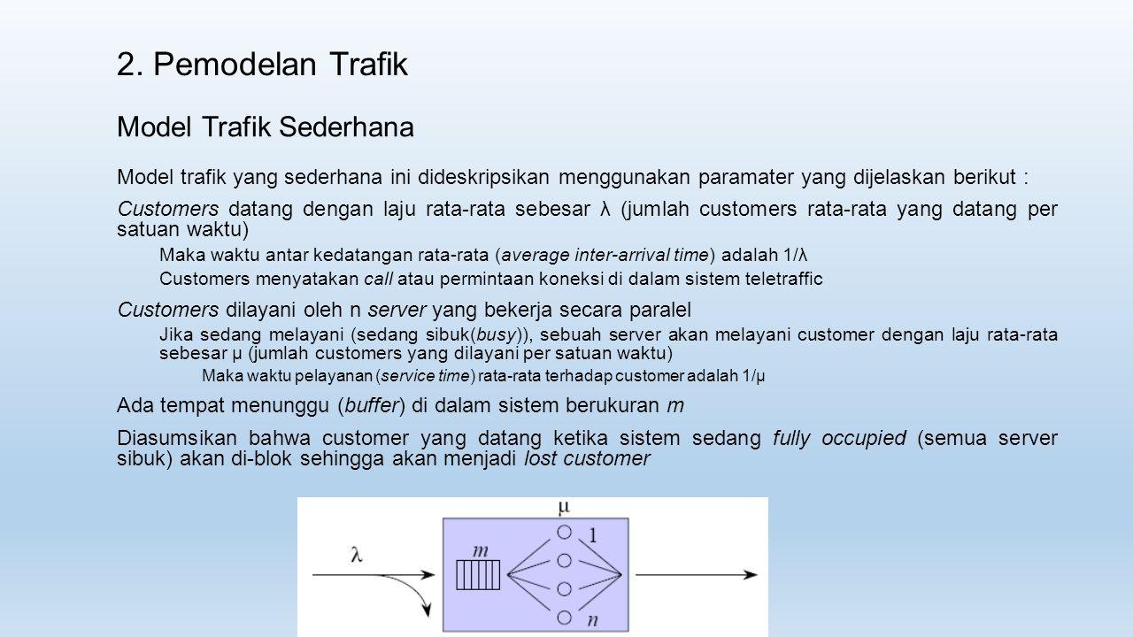 2. Pemodelan Trafik Model Trafik Sederhana Model trafik yang sederhana ini dideskripsikan menggunakan paramater yang dijelaskan berikut : Customers da