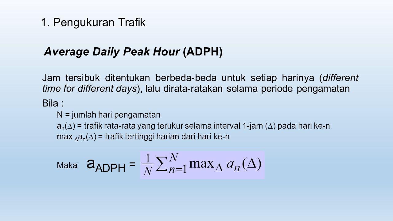 1. Pengukuran Trafik Average Daily Peak Hour (ADPH) Jam tersibuk ditentukan berbeda-beda untuk setiap harinya (different time for different days), lal