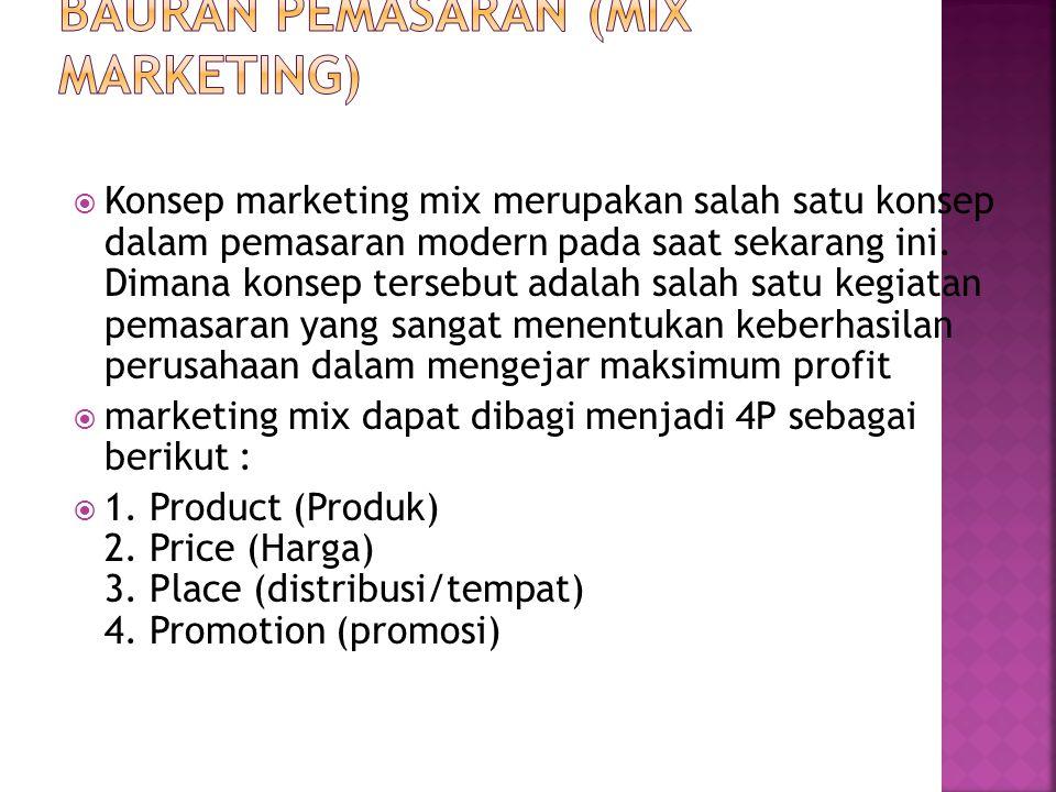  Konsep marketing mix merupakan salah satu konsep dalam pemasaran modern pada saat sekarang ini. Dimana konsep tersebut adalah salah satu kegiatan pe