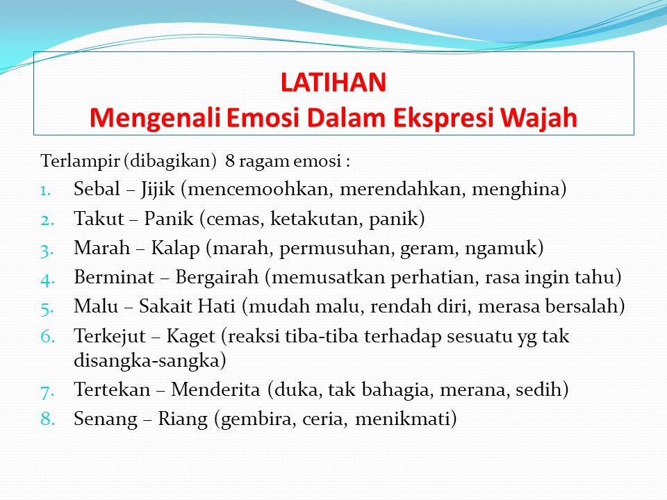 LATIHAN Mengenali Emosi Dalam Ekspresi Wajah Terlampir (dibagikan) 8 ragam emosi : 1. Sebal – Jijik (mencemoohkan, merendahkan, menghina) 2. Takut – P