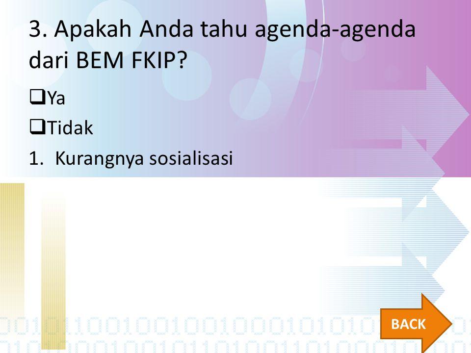 3. Apakah Anda tahu agenda-agenda dari BEM FKIP?  Ya  Tidak 1.Kurangnya sosialisasi BACK