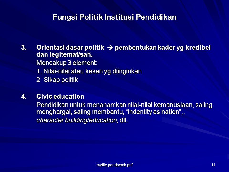 myfile:pendpemb.pnf 10 Fungsi Politik Institusi Pendidikan Menurut Sirozi (2005:37) institusi pend memiliki fungsi politik sbb: 1.