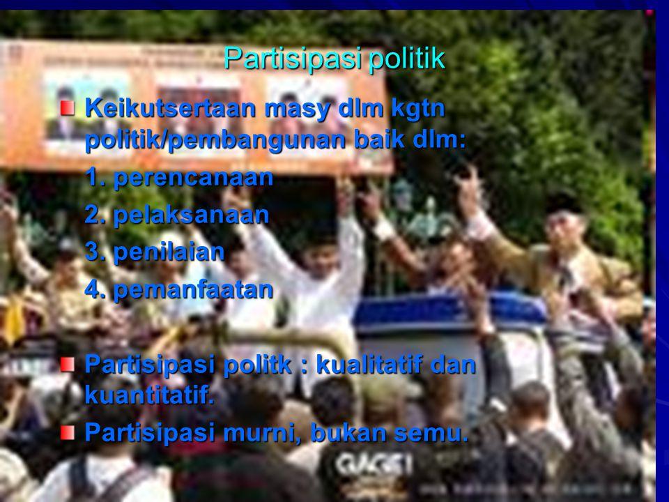 myfile:pendpemb.pnf 4 Partisipasi politik Keikutsertaan masy dlm kgtn politik/pembangunan baik dlm: 1.